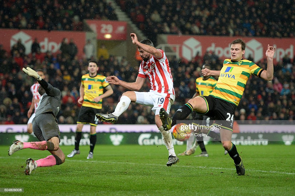 Ryan Bennett (R) and Declan Rudd of Norwich City (L) battle for the ball with Jonathan Walters of Stoke City during the Barclays Premier League match between Stoke City and Norwich City at the Britannia Stadium on January 13, 2016 in Stoke on Trent, England.