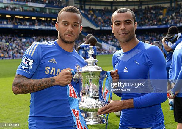 Ryan Bertrand and Ashley Cole of Chelsea during the Barclays Premier League match between Chelsea and Blackburn Rovers at Stamford Bridge on May 13...