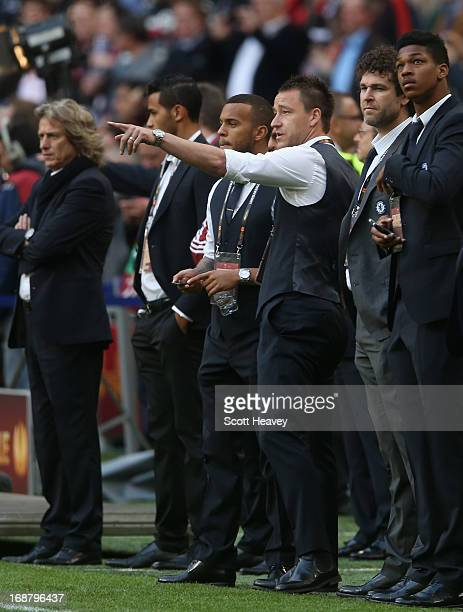 Ryan Bertrand and John Terry of Chelsea look on during the UEFA Europa League Final between SL Benfica and Chelsea FC at Amsterdam Arena on May 15...