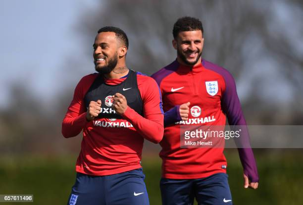 Ryan Bertrand and Kyle Walker share a joke during the England training session at the Tottenham Hotspur Training Centre on March 25 2017 in Enfield...