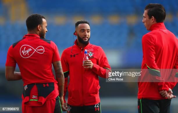 Ryan Bertrand Nathan Redmond and PierreEmile Hojbjerg of Southampton walk on the pitch prior to the Premier League match between Chelsea and...