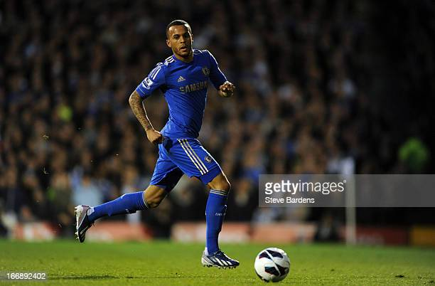 Ryan Bertrand of Chelsea in action during the Barclays Premier League match between Fulham and Chelsea at Craven Cottage on April 17 2013 in London...
