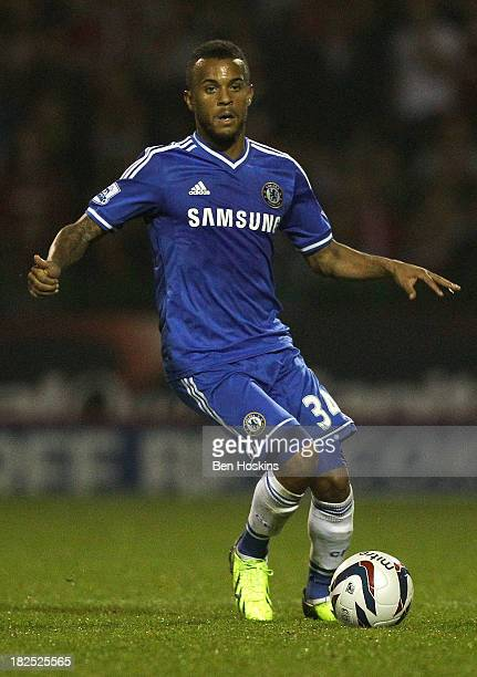 Ryan Bertrand of Chelsea in action during the Capital One Cup third round match between Swindon Town and Chelsea at County Ground on September 24...