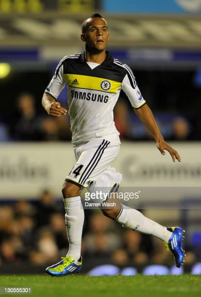 Ryan Bertrand of Chelsea in action during the Carling Cup Fourth Round match between Everton and Chelsea at Goodison Park on October 26 2011 in...