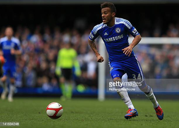 Ryan Bertrand of Chelsea in action during the FA Cup sixth round match between Chelsea and Leicester City at Stamford Bridge on March 18 2012 in...