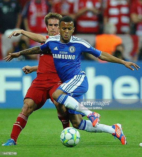 Ryan Bertrand of Chelsea is challenged by Philipp Lahm of Bayern Muenchen during UEFA Champions League Final between FC Bayern Muenchen and Chelsea...