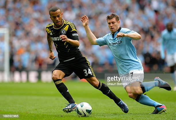 Ryan Bertrand of Chelsea is chased by James Milner of Manchester City during the FA Cup with Budweiser Semi Final match between Chelsea and...