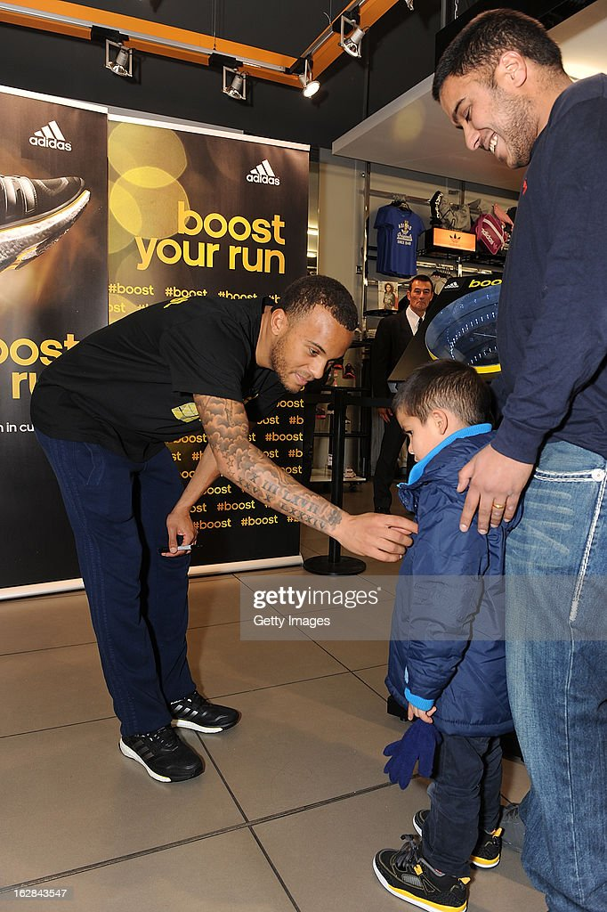 <a gi-track='captionPersonalityLinkClicked' href=/galleries/search?phrase=Ryan+Bertrand+-+Soccer+Player&family=editorial&specificpeople=1820135 ng-click='$event.stopPropagation()'>Ryan Bertrand</a> of Chelsea meets a young a fan at the adidas Boost Launch at the Westfield shopping centre on February 28, 2013 in London, England.