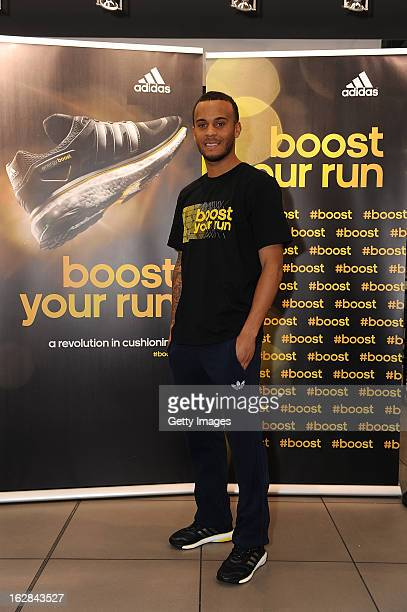 Ryan Bertrand of Chelsea poses at the adidas Boost Launch at the Westfield shopping centre on February 28 2013 in London England