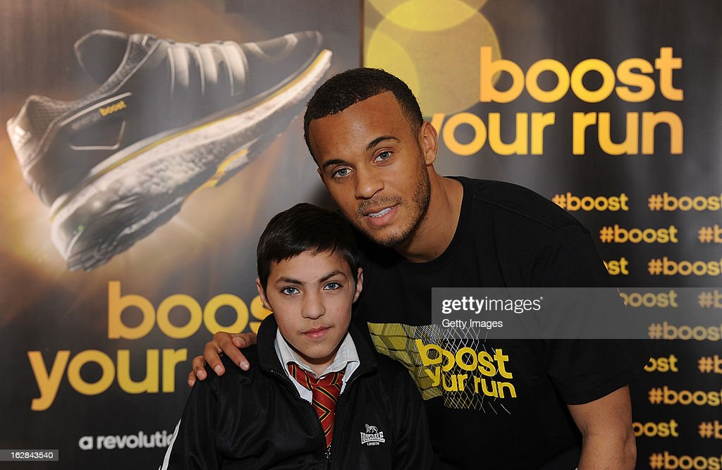 <a gi-track='captionPersonalityLinkClicked' href=/galleries/search?phrase=Ryan+Bertrand+-+Soccer+Player&family=editorial&specificpeople=1820135 ng-click='$event.stopPropagation()'>Ryan Bertrand</a> of Chelsea poses with a fan at the adidas Boost Launch at the Westfield shopping centre on February 28, 2013 in London, England.