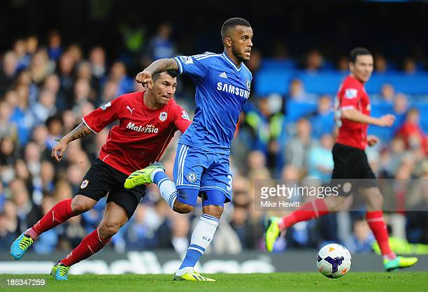 Ryan Bertrand of Chelsea runs with the ball during the Barclays Premier League match between Chelsea and Cardiff City at Stamford Bridge on October...