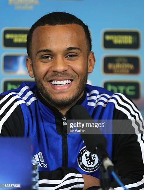 Ryan Bertrand of Chelsea speaks to the press during a Press Conference on April 3 2013 in Cobham England