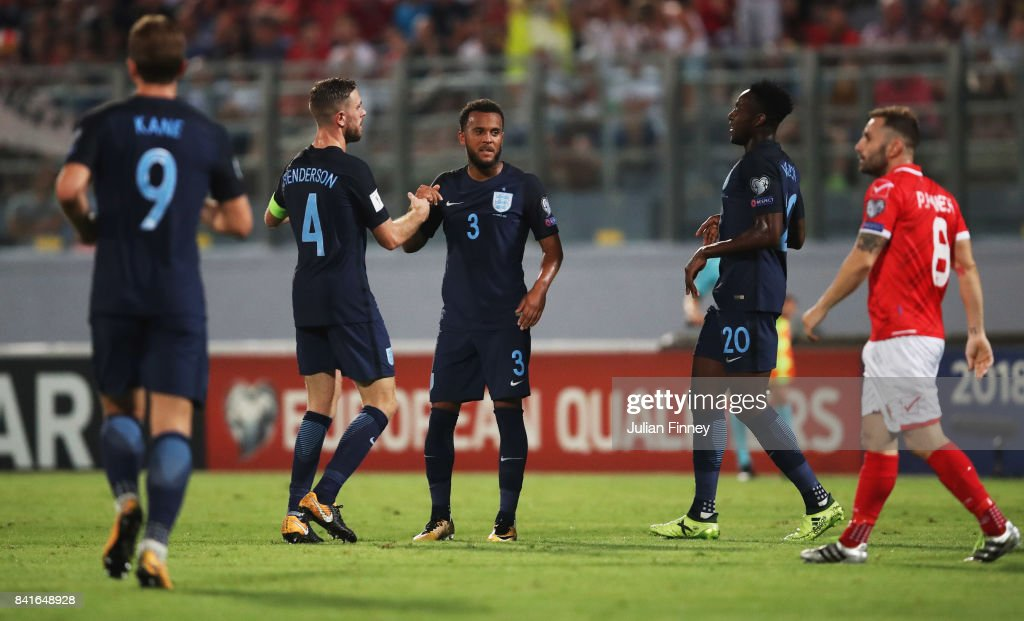 Ryan Bertrand of England (3) celebrates as he scores their second goal with Jordan Henderson of England (4) during the FIFA 2018 World Cup Qualifier between Malta and England at Ta'Qali National Stadium on September 1, 2017 in Valletta, Malta.