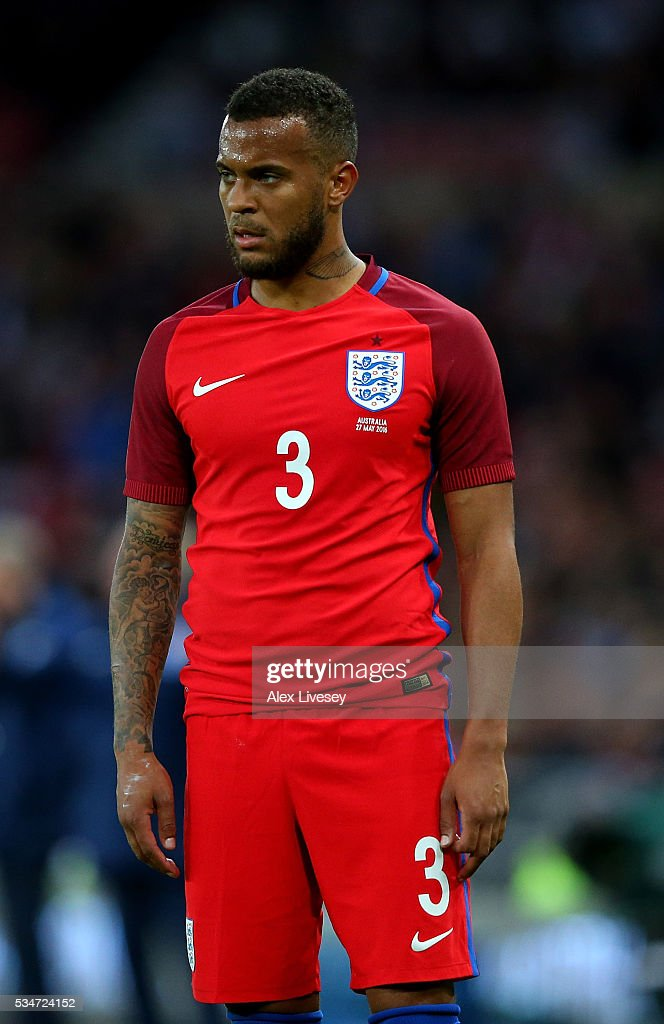 Ryan Bertrand of England looks on during the International Friendly match between England and Australia at Stadium of Light on May 27 2016 in...