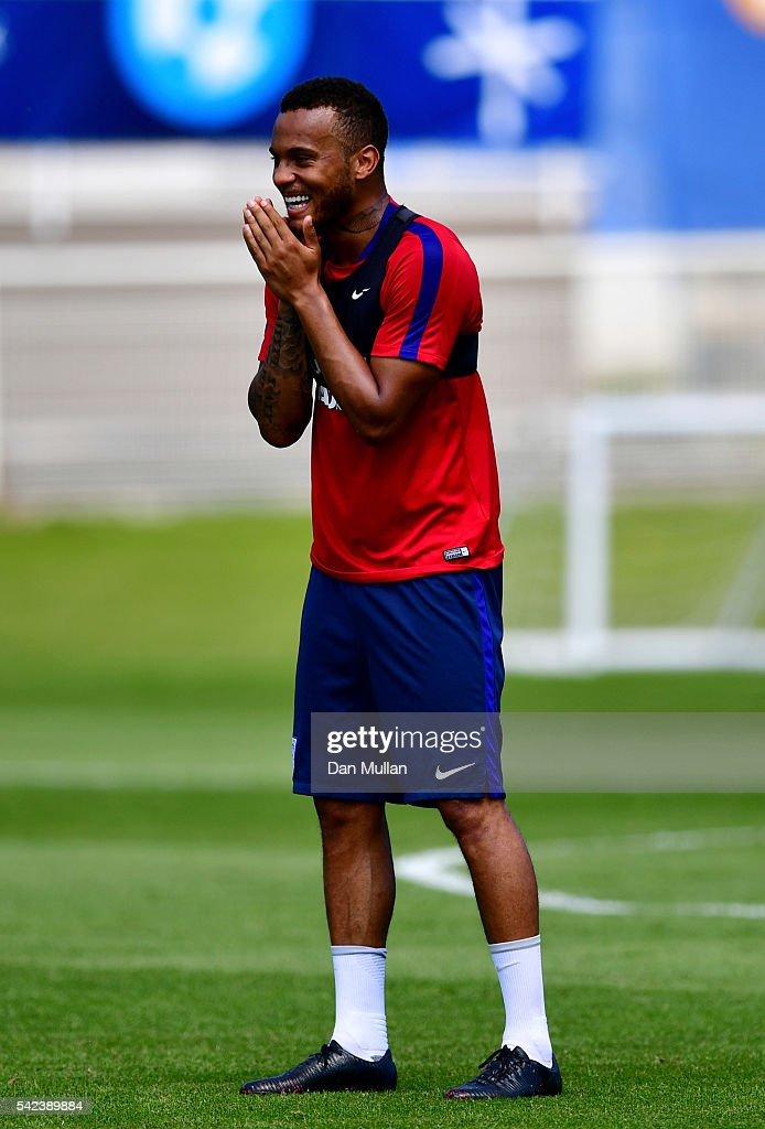 Ryan Bertrand of England reacts during a UEFA Euro 2016 training session at Stade du Bourgognes on June 23 2016 in Chantilly France