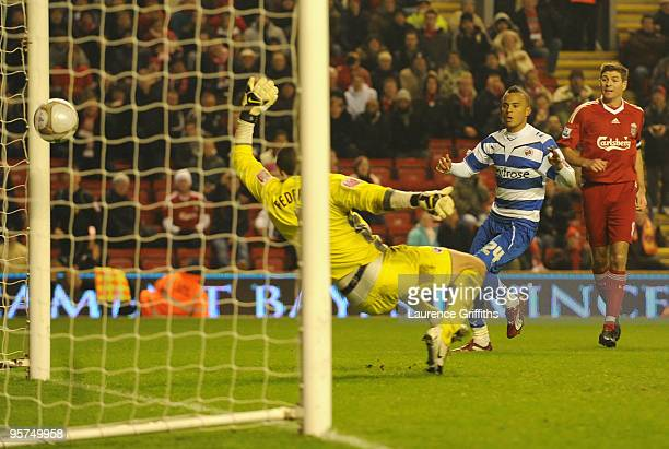 Ryan Bertrand of Reading scores an own goal past team mate Adam Federici during the FA Cup sponsored by EON 3rd Round Replay match between Liverpool...
