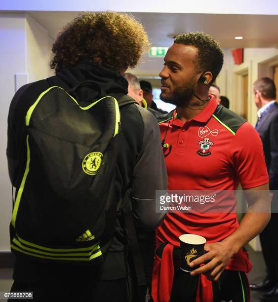 Ryan Bertrand of Southampton and David Luiz of Chelsea shake hands as they arrive prior to the Premier League match between Chelsea and Southampton...