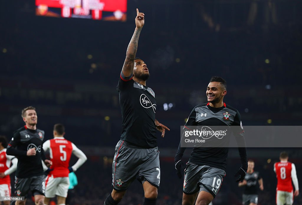 Ryan Bertrand of Southampton celebrates after scoring his team's second goal of the game during the EFL Cup quarter final match between Arsenal and Southampton at the Emirates Stadium on November 30, 2016 in London, England.