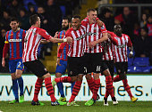 Ryan Bertrand of Southampton celebrates with team mates as he scores their second goal during the Barclays Premier League match between Crystal...