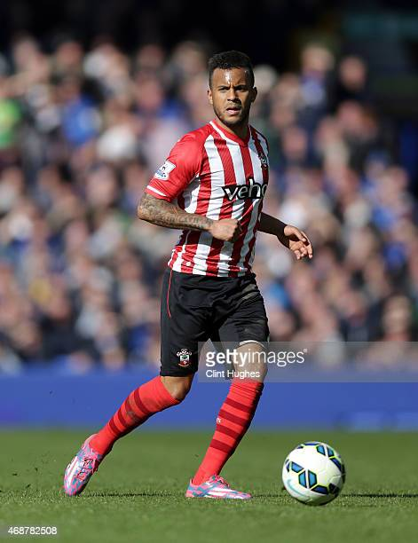 Ryan Bertrand of Southampton during the Barclays Premier League match between Everton and Southampton at Goodison Park on April 4 2015 in Liverpool...