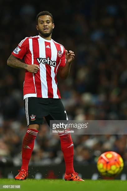 Ryan Bertrand of Southampton during the Barclays Premier League match between Manchester City and Southampton at the Etihad Stadium on November 28...