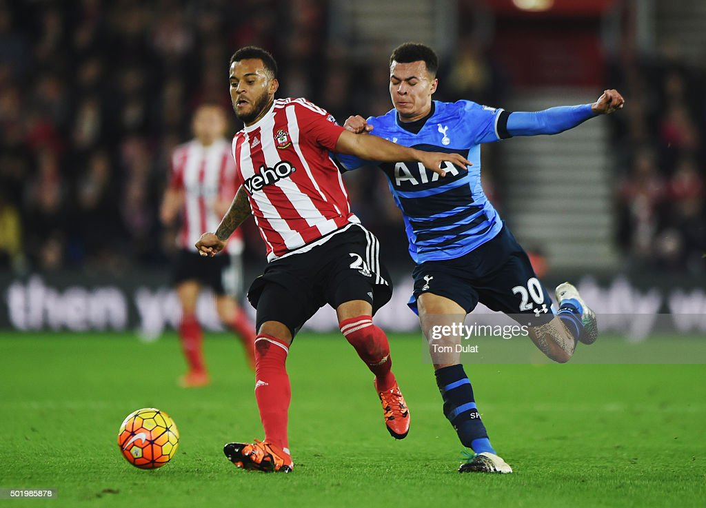 Ryan Bertrand of Southampton holds off Dele Alli of Tottenham Hotspur during the Barclays Premier League match between Southampton and Tottenham Hotspur at St Mary's Stadium on December 19, 2015 in Southampton, England.