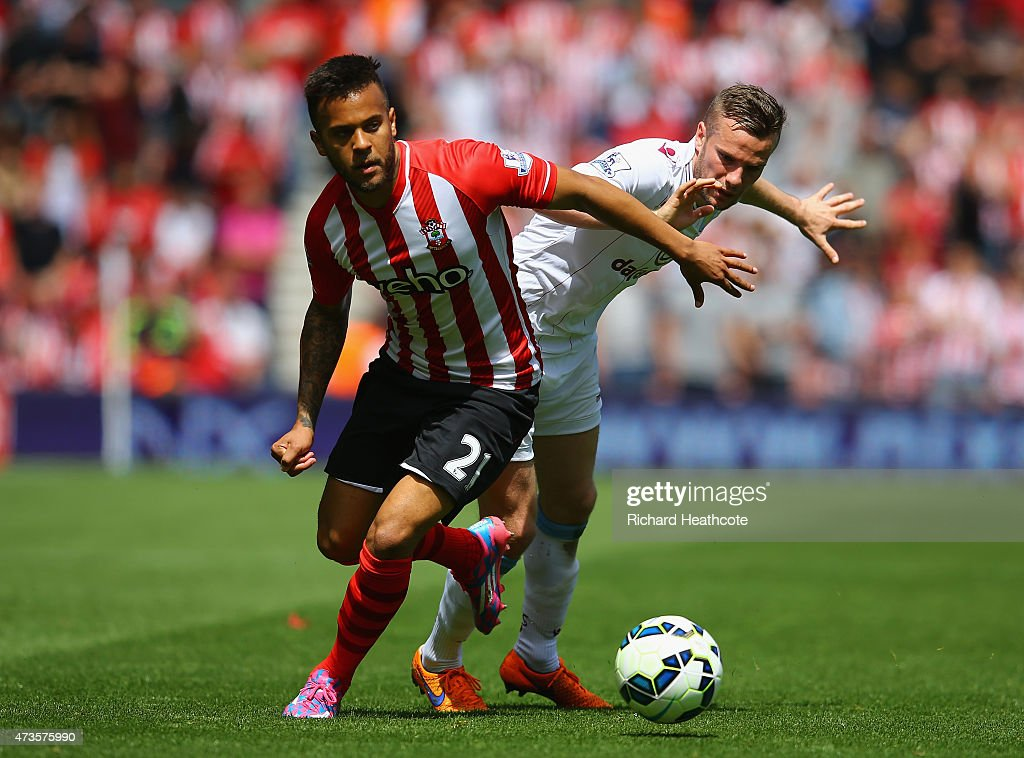 Ryan Bertrand of Southampton holds off Tom Cleverley of Aston Villa during the Barclays Premier League match between Southampton and Aston Villa at...
