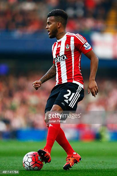 Ryan Bertrand of Southampton in action during the Barclays Premier League match between Chelsea and Southampton at Stamford Bridge on October 3 2015...