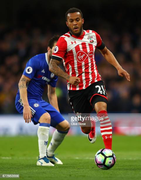 Ryan Bertrand of Southampton in action during the Premier League match between Chelsea and Southampton at Stamford Bridge on April 25 2017 in London...