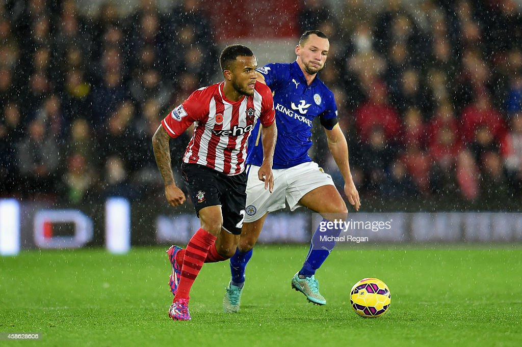 Ryan Bertrand of Southampton is marshalled by Daniel Drinkwater of Leicester City during the Barclays Premier League match between Southampton and...