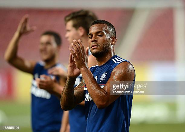Ryan Bertrand reacts during a Chelsea FC training session at Rajamangala Stadium on July 16 2013 in Bangkok Thailand
