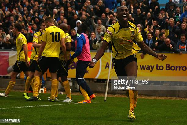 Ryan Blake of Chesham United celebrates scoring the opening goal during the Emirates FA Cup first round match between Bristol Rovers and Chesham...