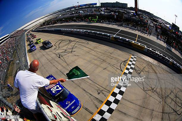 Ryan Blaney driver of the Cooper Standard Ford leads the field to the green flag for the running of the NASCAR Camping World Truck Series Lucas Oil...