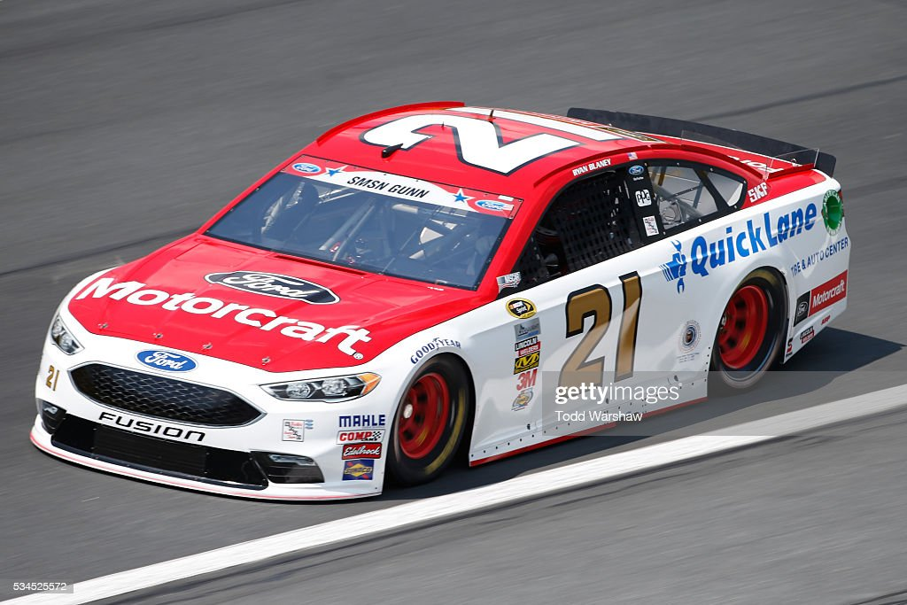<a gi-track='captionPersonalityLinkClicked' href=/galleries/search?phrase=Ryan+Blaney&family=editorial&specificpeople=8626930 ng-click='$event.stopPropagation()'>Ryan Blaney</a>, driver of the #21 Motorcraft/Quick Lane Tire and Auto Center Ford, practices for the NASCAR Sprint Cup Series Coca-Cola 600 at Charlotte Motor Speedway on May 27, 2016 in Charlotte, North Carolina.