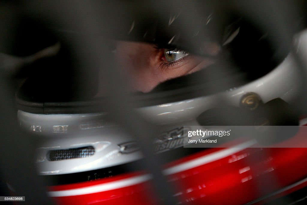 <a gi-track='captionPersonalityLinkClicked' href=/galleries/search?phrase=Ryan+Blaney&family=editorial&specificpeople=8626930 ng-click='$event.stopPropagation()'>Ryan Blaney</a>, driver of the #21 Motorcraft/Quick Lane Tire and Auto Center Ford, sits in his car during practice for the NASCAR Sprint Cup Series Coca-Cola 600 at Charlotte Motor Speedway on May 28, 2016 in Charlotte, North Carolina.