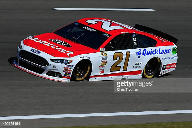 Ryan Blaney driver of the Motorcraft/Quick Lane Tire Auto Center Ford practices for the NASCAR Sprint Cup Series Hollywood Casino 400 at Kansas...