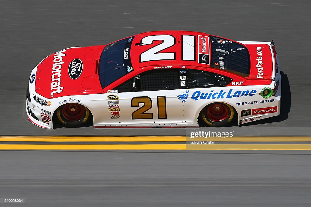 <a gi-track='captionPersonalityLinkClicked' href=/galleries/search?phrase=Ryan+Blaney&family=editorial&specificpeople=8626930 ng-click='$event.stopPropagation()'>Ryan Blaney</a>, driver of the #21 Motorcraft/Quick Lane Tire & Auto Center Ford, practices for the NASCAR Sprint Cup Series Daytona 500 at Daytona International Speedway on February 13, 2016 in Daytona Beach, Florida.