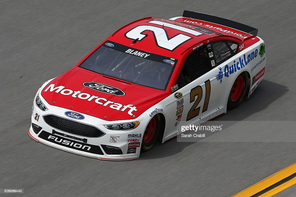 <a gi-track='captionPersonalityLinkClicked' href=/galleries/search?phrase=Ryan+Blaney&family=editorial&specificpeople=8626930 ng-click='$event.stopPropagation()'>Ryan Blaney</a>, driver of the #21 Motorcraft/Quick Lane Tire & Auto Center Ford, practices for the NASCAR Sprint Cup Series GEICO 500 at Talladega Superspeedway on April 29, 2016 in Talladega, Alabama.