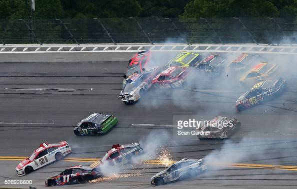 Ryan Blaney driver of the Motorcraft/Quick Lane Tire Auto Center Ford Denny Hamlin driver of the FedEx Express Toyota Ricky Stenhouse Jr driver of...