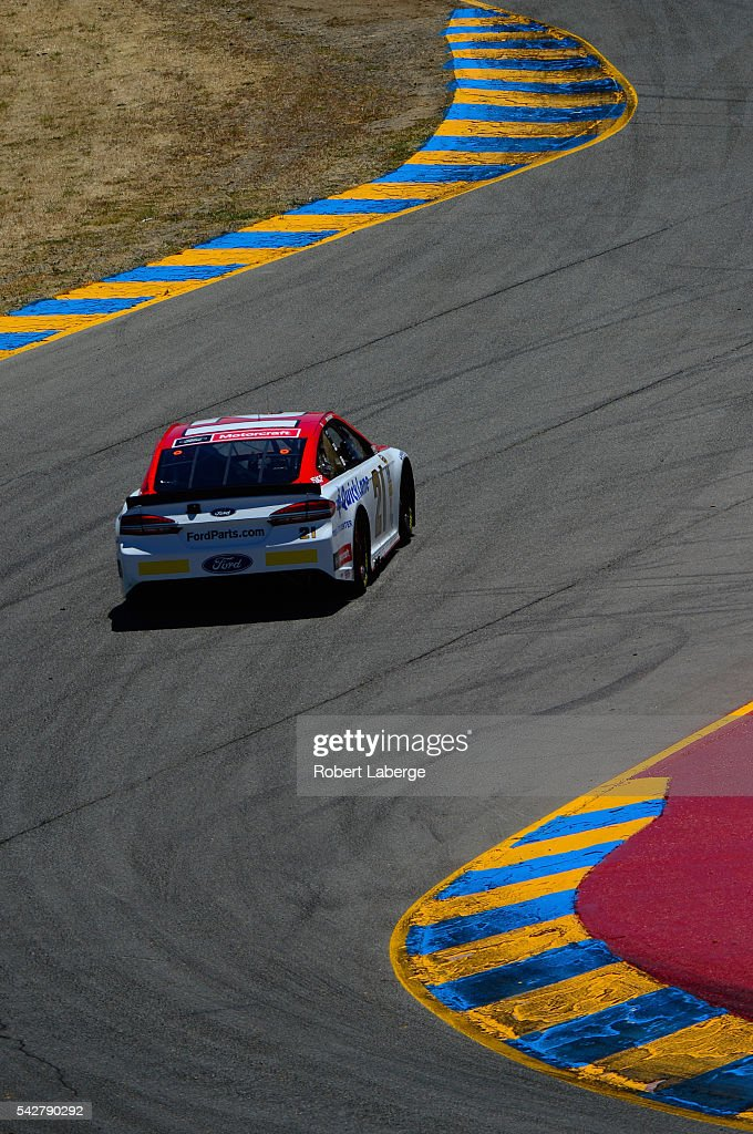 <a gi-track='captionPersonalityLinkClicked' href=/galleries/search?phrase=Ryan+Blaney&family=editorial&specificpeople=8626930 ng-click='$event.stopPropagation()'>Ryan Blaney</a>, driver of the #21 Motorcraft/Quick Lane Tire & Auto Center Ford, drives practices for the NASCAR Sprint Cup Series Toyota/Save Mart 350 at Sonoma Raceway on June 24, 2016 in Sonoma, California.