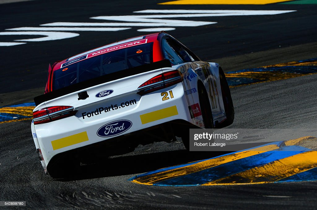 <a gi-track='captionPersonalityLinkClicked' href=/galleries/search?phrase=Ryan+Blaney&family=editorial&specificpeople=8626930 ng-click='$event.stopPropagation()'>Ryan Blaney</a>, driver of the #21 Motorcraft/Quick Lane Tire & Auto Center Ford, practices for the NASCAR Sprint Cup Series Toyota/Save Mart 350 at Sonoma Raceway on June 24, 2016 in Sonoma, California.