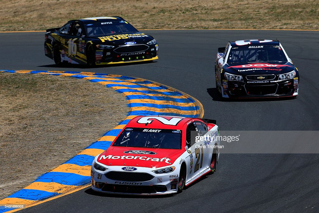 <a gi-track='captionPersonalityLinkClicked' href=/galleries/search?phrase=Ryan+Blaney&family=editorial&specificpeople=8626930 ng-click='$event.stopPropagation()'>Ryan Blaney</a>, driver of the #21 Motorcraft/Quick Lane Tire & Auto Center Ford, races <a gi-track='captionPersonalityLinkClicked' href=/galleries/search?phrase=Austin+Dillon&family=editorial&specificpeople=5075945 ng-click='$event.stopPropagation()'>Austin Dillon</a>, driver of the #3 Dow/Utility Trailers Chevrolet, and <a gi-track='captionPersonalityLinkClicked' href=/galleries/search?phrase=Greg+Biffle&family=editorial&specificpeople=209093 ng-click='$event.stopPropagation()'>Greg Biffle</a>, driver of the #16 Performance Plus Motor Oil Ford, during the NASCAR Sprint Cup Series Toyota/Save Mart 350 at Sonoma Raceway on June 26, 2016 in Sonoma, California.