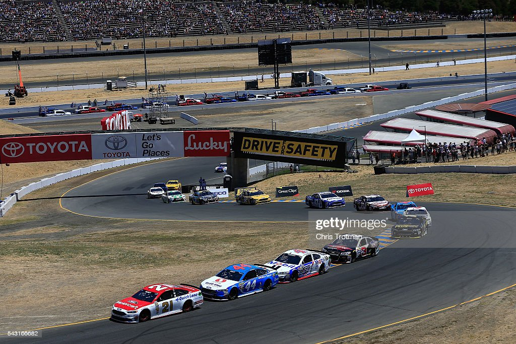 Ryan Blaney, driver of the #21 Motorcraft/Quick Lane Tire & Auto Center Ford, leads a pack of cars during the NASCAR Sprint Cup Series Toyota/Save Mart 350 at Sonoma Raceway on June 26, 2016 in Sonoma, California.