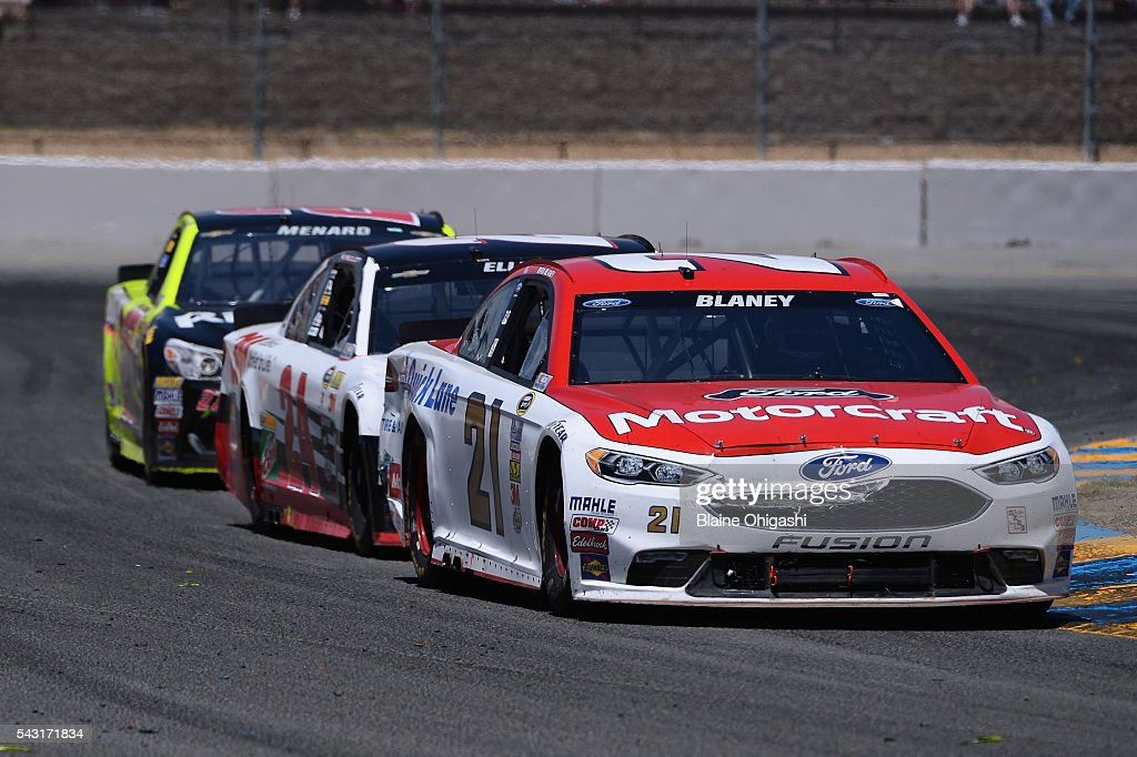 <a gi-track='captionPersonalityLinkClicked' href=/galleries/search?phrase=Ryan+Blaney&family=editorial&specificpeople=8626930 ng-click='$event.stopPropagation()'>Ryan Blaney</a>, driver of the #21 Motorcraft/Quick Lane Tire & Auto Center Ford, leads <a gi-track='captionPersonalityLinkClicked' href=/galleries/search?phrase=Chase+Elliott&family=editorial&specificpeople=3623017 ng-click='$event.stopPropagation()'>Chase Elliott</a>, driver of the #24 3M Chevrolet, and <a gi-track='captionPersonalityLinkClicked' href=/galleries/search?phrase=Paul+Menard&family=editorial&specificpeople=540271 ng-click='$event.stopPropagation()'>Paul Menard</a>, driver of the #27 Richmond/Menards Chevrolet, during the NASCAR Sprint Cup Series Toyota/Save Mart 350 at Sonoma Raceway on June 26, 2016 in Sonoma, California.