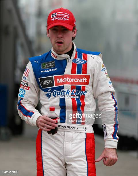 Ryan Blaney driver of the Motorcraft/Quick Lane Tire Auto Center Ford prepares to drive during practice for the Monster Energy NASCAR Cup Series 59th...