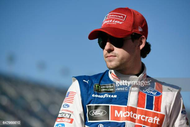 Ryan Blaney driver of the Motorcraft/Quick Lane Tire Auto Center Ford during qualifying for the Monster Energy NASCAR Cup Series 59th Annual DAYTONA...