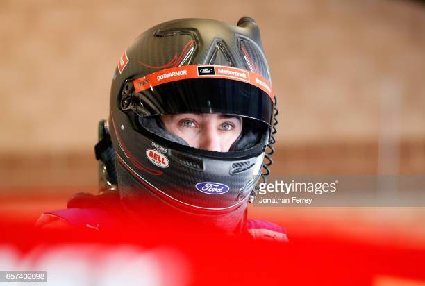 Ryan Blaney driver of the Motorcraft/Quick Lane Tire Auto Center Ford gets into his car during practice for the Monster Energy NASCAR Cup Series Auto...