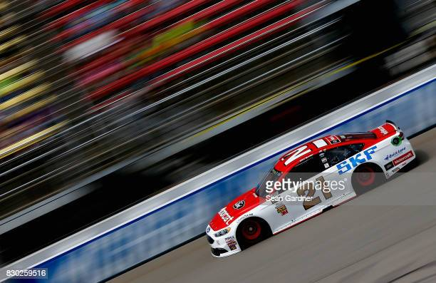 Ryan Blaney driver of the Motorcraft/SKF Ford practices for the Monster Energy NASCAR Cup Series Pure Michigan 400 at Michigan International Speedway...