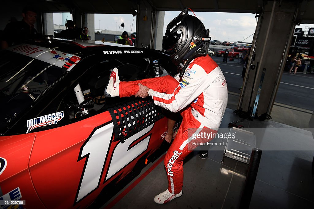 <a gi-track='captionPersonalityLinkClicked' href=/galleries/search?phrase=Ryan+Blaney&family=editorial&specificpeople=8626930 ng-click='$event.stopPropagation()'>Ryan Blaney</a>, driver of the #12 Snap-on Ford, climbs into his car during practice for the NASCAR XFINITY Series Hisense 4K TV 300 at Charlotte Motor Speedway on May 27, 2016 in Charlotte, North Carolina.