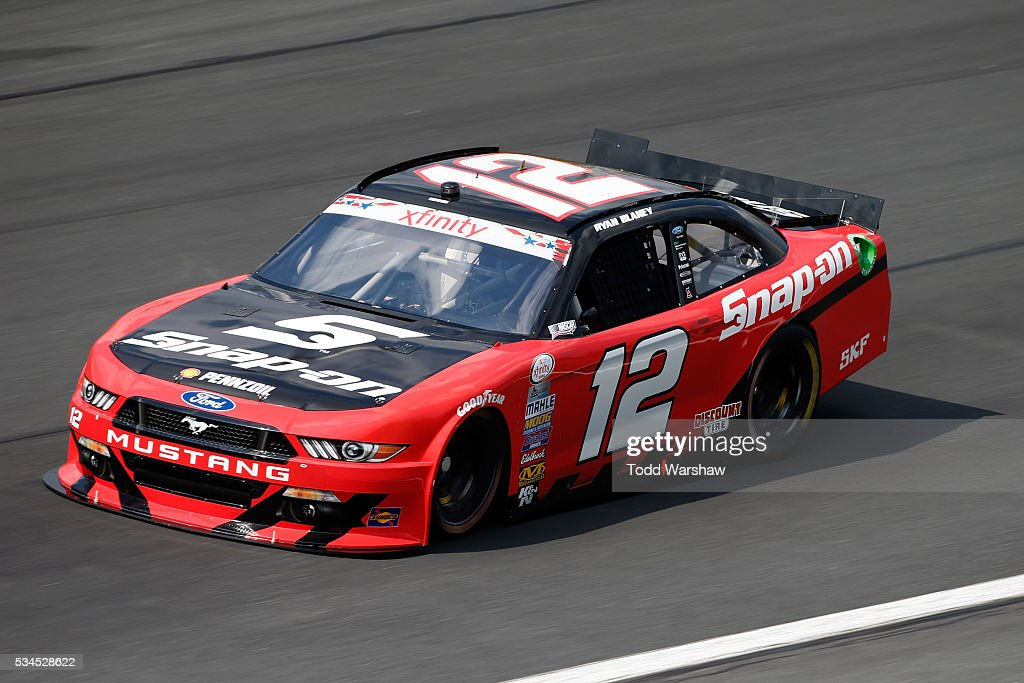 <a gi-track='captionPersonalityLinkClicked' href=/galleries/search?phrase=Ryan+Blaney&family=editorial&specificpeople=8626930 ng-click='$event.stopPropagation()'>Ryan Blaney</a>, driver of the #12 Snap-on Ford, drives during practice for the NASCAR XFINITY Series Hisense 4K TV 300 at Charlotte Motor Speedway on May 27, 2016 in Charlotte, North Carolina.